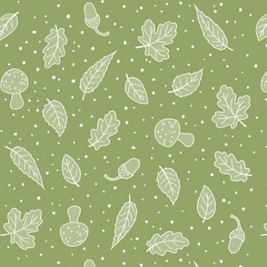 Woodland Leaves - Green and White