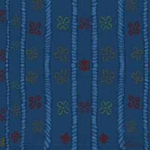 Grandmas Needlework in navy stripes by Salzanos