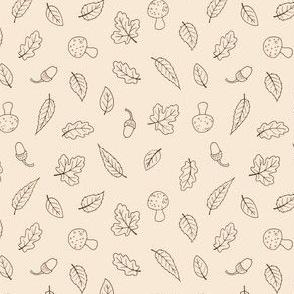 Ditsy Woodland Leaves - simple line on cream