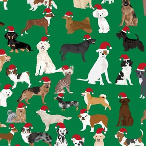 santa paws fabric cute dogs christmas hats santa hats best dog fabric