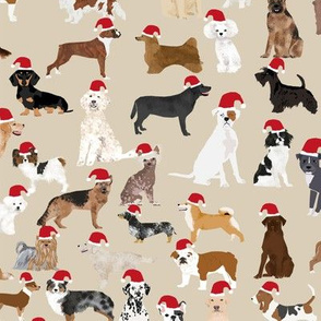 santa paws christmas fabric cute santa hat dogs dog fabric dog design cute dogs best santa dogs fabric