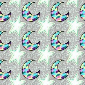 Project 103 | Mosaic Moon and Stars | Dusty Grey