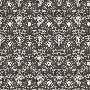Skulls and Roses damask in Mud