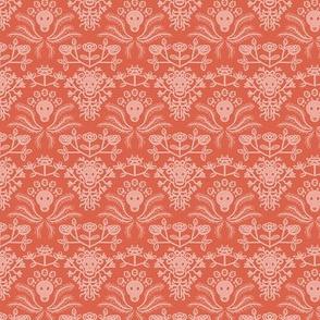 Skulls and Roses damask in orange
