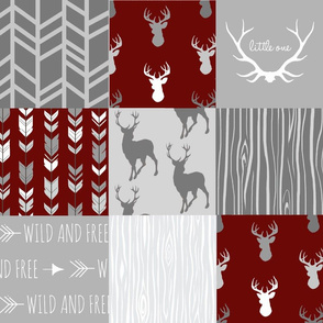 Wholecloth Quilt- Maroon and Grey Deer-ch-ch-ch