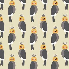 Cockatiels in beige