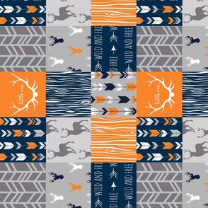 Wholecloth Quilt- Navy, Orange, Grey -Patchwork Deer Arrows Woodgrain