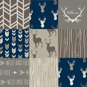 Wholecloth Quilt- brown and navy/taupe and blue Deer - woodland patchwork