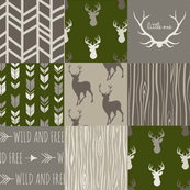 Wholecloth Quilt- Brown and Green - Hunting Patchwork- Deer Arrows Woodgrain