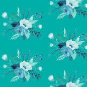 Floral Blue Rose Turquoise