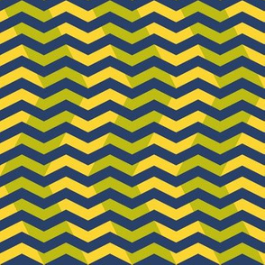 wavy chevron - navy, yellow and lime