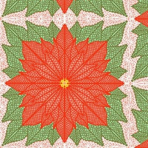 Poinsettia Lace with green leaves Half Drop