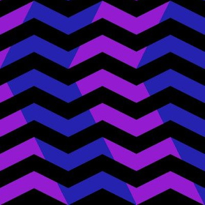 wavy chevron in blue, black and purple