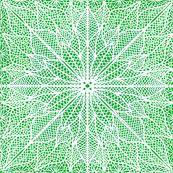 Poinsettia Lace White on Green Half Drop