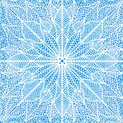 Poinsettia Lace White on Blue Half Drop