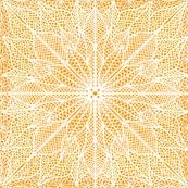 Poinsettia Lace White on Orange Half Drop