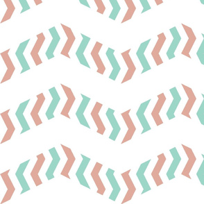 zebra chevron - pink and mint