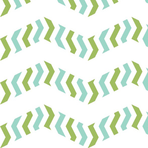 zebra chevron - mint and green