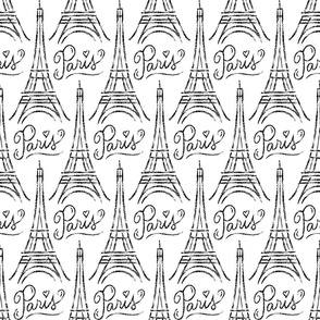 Eiffel Tower (black on white)