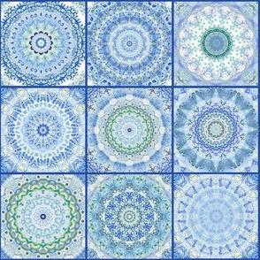 Blue ceramics tile in watercolor