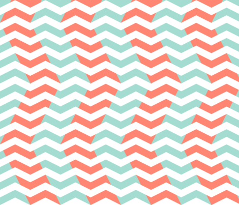 Mint And Coral Chevron Wallpaper Wavy