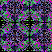 PURPLE GREEN FIG HARMONY MANDALA TILES CHECK Medium scale