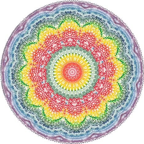 Vivid Watercolor Rainbow Mandala Fabric Magic Pencil