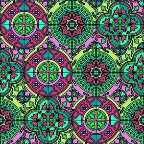 COLORFUL AZULEJOS STYLE TILES GREEN BURGUNDY