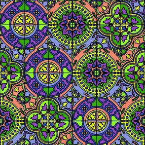 COLORFUL AZULEJOS STYLE TILES purple green coral