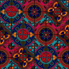 COLORFUL AZULEJOS STYLE TILES RED PINK BLUES