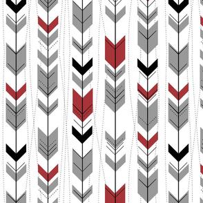 tribal arrows // Black, scarlet & grey