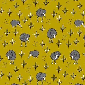 Cool kiwi birds quirky animals from New Zealand ochre yellow