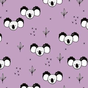 Sweet baby koala bears fun kids animals with geometric detailing violet