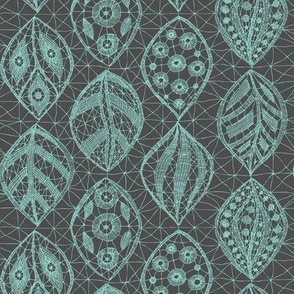 Lace Leaves - CA Turq On Grey  300dpi