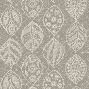 Lace Leaves - Cream On Taupe 300dpi