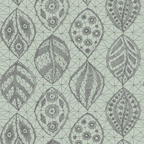 Lace Leaves - Grey on Seaspray