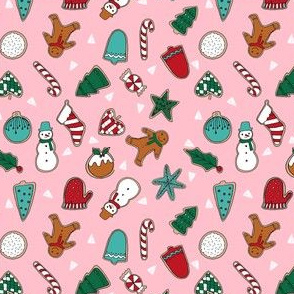 christmas cookies // pink cute christmas cookie fabric christmas baking food holiday fabrics holiday designs andrea lauren andrea lauren fabrics