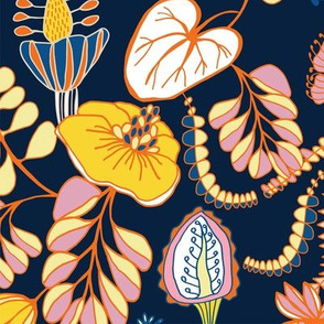 Summer Tropique garden Navy & Pink