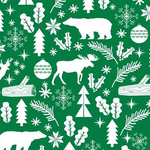 Woodland Christmas green holiday winter fabric bear reindeer holly christmas tree ornaments