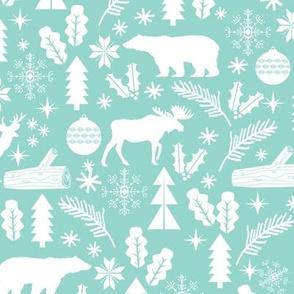 Woodland Christmas mint holiday winter fabric bear reindeer holly christmas tree ornaments