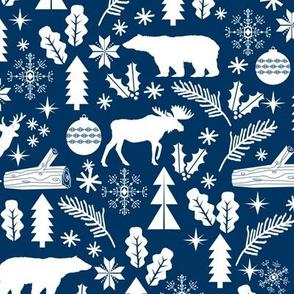 Woodland Christmas navy holiday winter fabric bear reindeer holly christmas tree ornaments