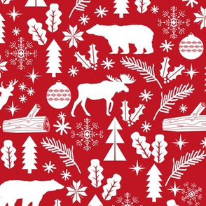 Woodland Christmas red holiday winter fabric bear reindeer holly christmas tree ornaments