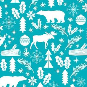 Woodland Christmas blue holiday winter fabric bear reindeer holly christmas tree ornaments