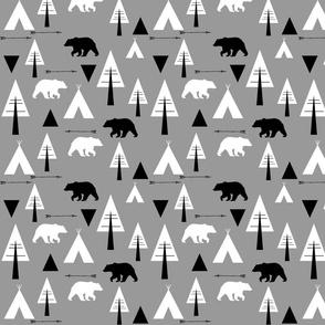 bear camp // Lumberjack  B&W on grey
