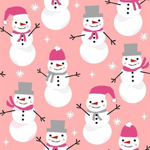Snowman winter holiday pink christmas fabric snowflakes north pole
