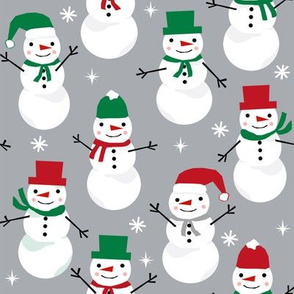 Snowman winter holiday grey christmas fabric snowflakes north pole