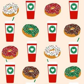 Donuts and coffee christmas cream fabric holiday themed patterns for sewing clothing and home