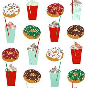 Donuts and coffee christmas white fabric holiday themed patterns for sewing clothing and home