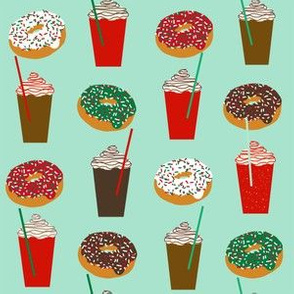 Donuts and coffee mint christmas fabric holiday themed patterns for sewing clothing and home