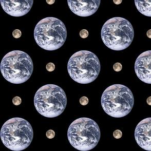 "4"" Earth and 1"" Moon polkadot"